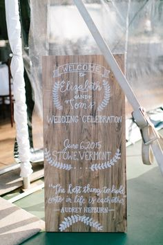 rustic welcome calligraphy wedding reception decor