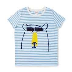 100% Cotton Tee. Jersey, short sleeve t-shirt in all over yarn dyed stripe. Features printed bear face on front panel with novelty fluffy eyebrows. Regular fitting silhouette. Available in Scuba Blue.