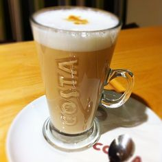 Caramel latte. Costa Coffee, Caramel Latte, Brown Paper Packages, Coffee Latte, Pint Glass, Beer, English, Make It Yourself, Tableware