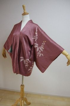 Kimono Dress Japan Vintage haori coat Geisha costume used silk KDJM-H0253