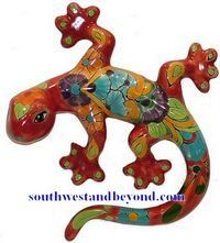 colorful mexican wall planters | Talavera Pottery Talavera Animals - Lizard - Geckos - Frogs and more