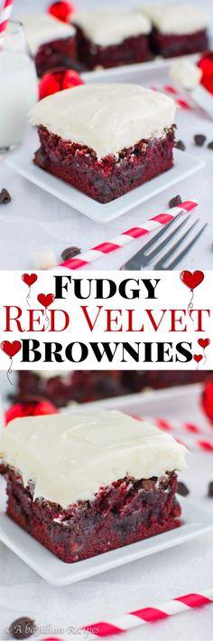 Fudgy Red Velvet Brownies (collage)