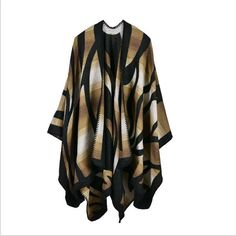 Camouflage Color Gradient Poncho Women Cape Poncho Blanket Cloak Wrap Shawl