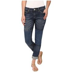 Blank NYC Denim Patchwork Slim Boyfriend in Blue Women's Jeans ($88) ❤ liked on Polyvore featuring jeans, skinny jeans, distressed boyfriend jeans, leather overalls, bib overalls and overalls