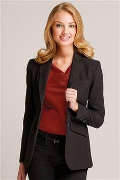 Zoey Blazer - Stylish Corporate Uniforms and Career Apparel Corporate Uniforms, Office Uniform, Professional Wardrobe, Blazer Buttons, Blazers For Women, Fashion Sketches, Stretch Fabric, Feminine, Female