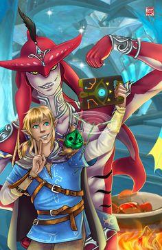 Link and Sidon by Tyrine Carver of Musetap Studios    Legend of Zelda, Breath of the Wild, botw, korok