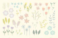 Cute floral elements + 6 patterns! by kondratya on Creative Market