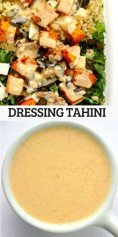 Dressing tahini do sałatki, warzyw oraz dań z grilla Tahini, Raw Food Recipes, Cantaloupe, Grilling, Salads, Lunch Box, Spices, Food And Drink, Fruit