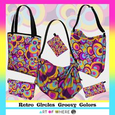 Retro Circles Groovy Colors Bags  by #Gravityx9 at #ArtofWhere ~ Fun colors of groovy days gone by...a retro look at the colorful patterns of yesteryear.  Find this design on fashion, home decor and more! #groovy #fashion #retro #retrostyle #womensfashion #accessories #womensaccessories  #hippie #colorful