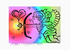 Happy Valentine's Day Cupid 4 Greeting Card