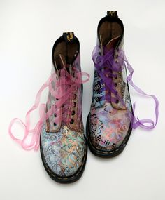 I love the over-laid prints and colors. Not crazy about the laces.   new gold: DIY Boot Camp