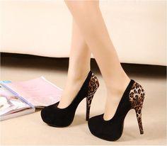 Fashion Leopard Black Sexy Women's Party Pumps Stiletto Platform High Heel Shoes