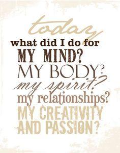 Mind, Body, Spirit...........