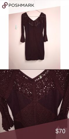 Free People dress Sweater-ish soft cotton material, lacey details and gorgeous bell sleeves. Never worn! Free People Dresses