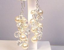 Cream & Crystal Full Chandelier Earrings, Pearls and Crystals, Long Cluster Bridal Jewelry, off white, soft ivory, butter, diamond white