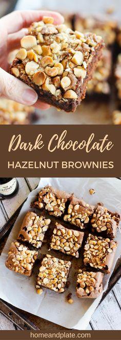 Dark Chocolate Hazelnut Brownies - Home & Plate Best Dessert Recipes, Easy Desserts, Sweet Recipes, Delicious Desserts, Yummy Food, Bar Recipes, Sweet Desserts, Dessert Ideas, Chocolate Hazelnut