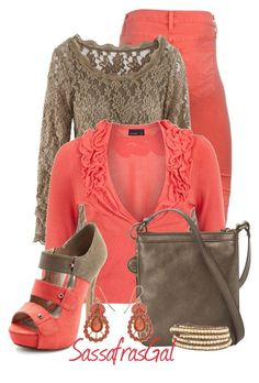 """""""Coral & Taupe"""" by sassafrasgal ❤ liked on Polyvore featuring Hudson Jeans, Vero Moda, Nine West, Charlotte Russe and Chan Luu"""