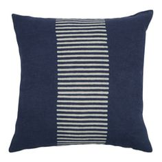 Center Stripes Block Print PURE LINEN Pillow, Indigo