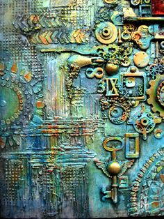 OOAK Mixed Media Collage Assemblage Wall Art by Paintingmydreams