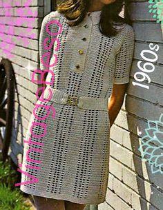 Unique Crochet, Vintage Crochet, Fair Isle Knitting Patterns, Crochet Patterns, Plus Size Maxi, Mod Dress, Cute Pattern, Belted Dress, Summer Wear