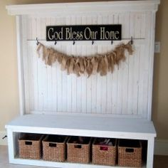 Front entry bench with bins for shoes/kids to  keep their stuff