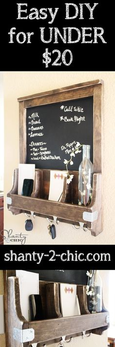 DIY Chalkboard And Key Hooks Project | Handy & Homemade                                                                                                                                                                                 More