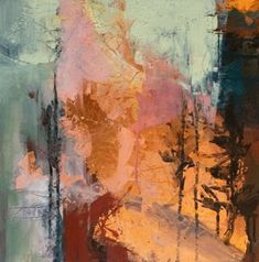 "Contemporary Landscape Artists International: Contemporary Abstract Landscape Painting ""Golden Promise"" by Intuitive Artist Joan Fullerton"