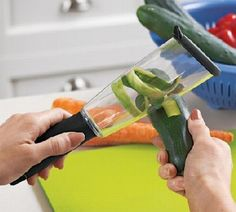 Veggie Peeler  Thanks to this cool gadget, there is no mess in the sink, on the counter or on the floor