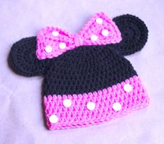 Crochet Minnie Mouse Hat in Black,Pink with Ears for baby-new born,3-6mo,6-9mo,9-12mo,12-18mo,18-24mo-Photo Prop READY TO SHIP