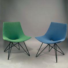 Anonymous; Enameled Metal Base Chairs by Zakonom Zasticeno, Belgrade, c1955.
