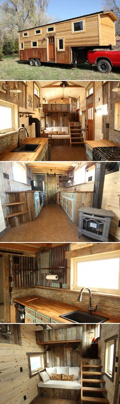 JJ's Place is a 31-foot gooseneck tiny house built by Colorado-based SimBLISSity Tiny Homes. The rustic tiny home has a warm interior with beetle kill pine and reclaimed wood throughout.