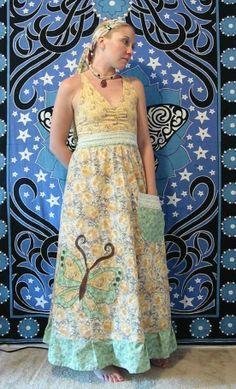 Halter Hippie patchwork dress