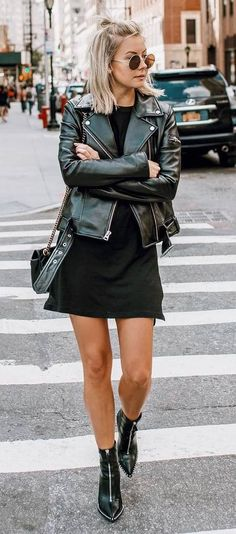 all black everything / biker jacket + bag + boots + dress