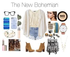 """Boho Back To School #3"" by aliyehkhan ❤ liked on Polyvore featuring Miss Selfridge, American Eagle Outfitters, Cleobella, Tory Burch, Wet Seal, Maybelline, Clarins, Clinique, Uncommon and Ray-Ban"