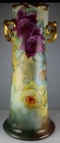 "Large 15"" Limoges Vienna Austria Leonard Double Handled Floral Vase RARE Size | eBay"