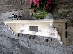 Distressed Furniture, Coat Rack Shelf, Wood Shelving, Shabby Cottage, Antiqued Shelf, Shabby Chic, Stone Inlay. $115.00, via Etsy.