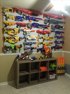 nerf gun wall storage sheen gun wall rack slat wall shelves elegant s gun wall s room hi res sheen gun wall nerf gun wall storage ideas Nerf Gun Storage, Diy Toy Storage, Wall Storage, Storage Ideas, Wall Shelves, Storage Rack, Storage Solutions, Pistola Nerf, Nerf Party