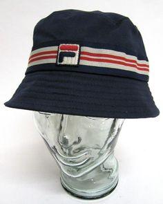 1ac6bd203eb Fila Vintage - Bucket Hat in Navy Off White Red. Fila DressHip Hop ...