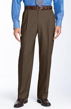 Men's Ballin Double Reverse Pleated Wool Twill Trousers