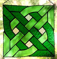 "Celtic Knot Suncatcher - Green Stained Glass - 8"" x 8  -""$34.95"