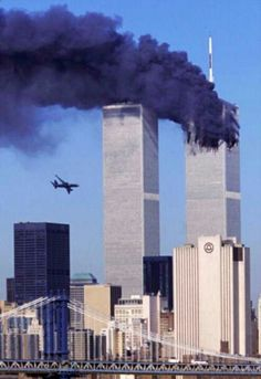 The terrorist attack on the Twin Towers in New York City on September 11, 2011.