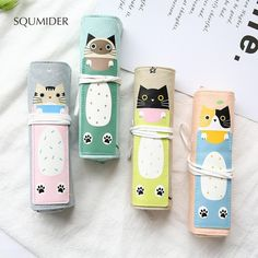 This canvas pencil roll features an adorable kitty or critter on the front. This roll features four pencil/pen pockets and a small detachable zipper case within. Product Details: Type: Pencil Case Size: x 5 cm (rolled) x cm (unrolled) Material: Canvas Roll Up Pencil Case, Cool Pencil Cases, Cat Lover Gifts, Cat Gifts, Cat Lovers, Cat Roll, Stationery Items, Pencil Bags, Office And School Supplies