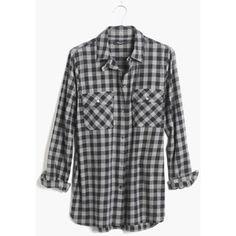 MADEWELL Flannel Ex-Boyfriend Shirt in Buffalo Check