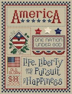 Life and Liberty ~ cross stitch pattern kit w/buttons, designed by Sue Hillis | via 123Stitch