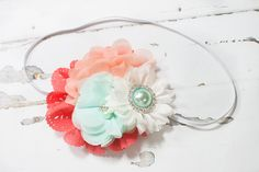 Charmed, I'm Sure - headband in coral, peach, aqua and white - M2M Matilda Jane and Giggle Moon by SoTweetDesigns on Etsy
