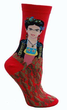 Red crew length socks with Frida Kahlo