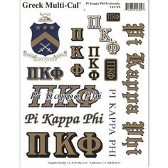 Pi Kappa Phi Fraternity Multi-Cal Stickers Sheet - New and Officially Licensed Pi Kappa Phi, Greek Gifts, Fraternity, Sticker Design, Stickers, Accessories, Products, Gadget, Decals