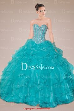Classical Sweetheart Quinceanrea Gown with Beaded Bodice and Tiered Ruffle Skirt
