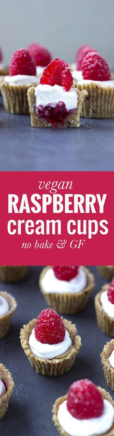 Vegan Raspberry Cream Cups! These no bake sweet treats are gluten free, grain free and refined sugar free! Get the recipe nutritionistmeetschef.com