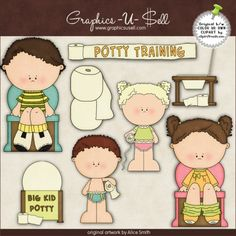 Potty Training 1 - Whimsical Clip Art by Alice Smith